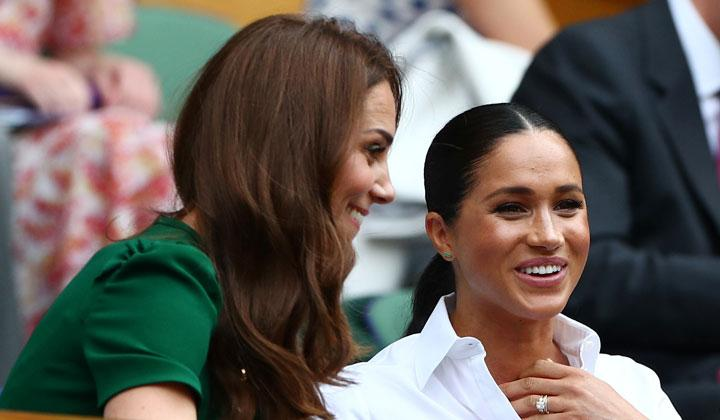 Ekspresi Kate Middleton, Duchess of Cambridge bersama Meghan Markle, Duchess of Sussex, saat menyaksikan pertandingan final Wimbledon antara Serena Williams vs Simona Halep di All England Lawn Tennis and Croquet Club, London, 13 Juli 2019. REUTERS/Hannah