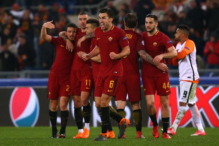 Selebrasi Pemain AS Roma. (reuters)