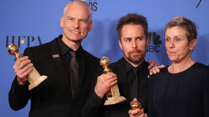 "Para pemenang Golden Globe Awards dalam drama ""Three Billboards Outside Ebbing, Missouri"". (dari kiri) Martin McDonagh, Sam Rockwell, dan Frances McDormand. REUTERS"