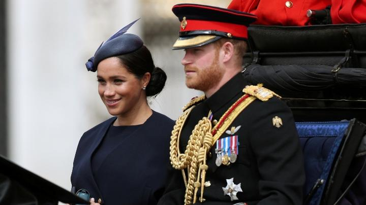 Pangeran Harry dan Meghan Markle menghadiri acara Trooping the Colour di London, Sabtu, 8 Juni 2019. Reuters