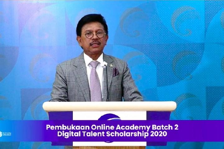 "Menteri Komunikasi dan Informatika Johnny G. Plate membuka program ""Digital Talent Scholarship"" 2020. Kredit: HO/Kementerian Kominfo"