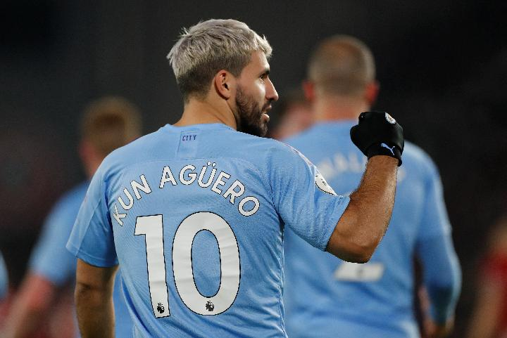 Pemain Manchester City Sergio Aguero. Reuters