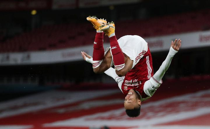 Pemain Arsenal Pierre-Emerick Aubameyang. REUTERS/Catherine Ivill